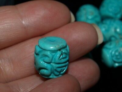 One Vintage Carved Chinese Turquoise Howlite Bead Barrel, Shou 14mm x 13mm