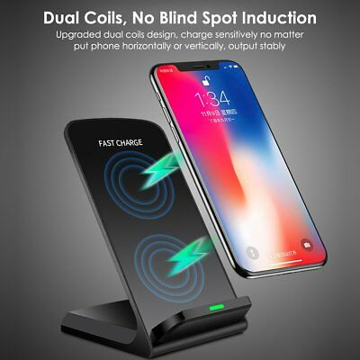 For iPhone X 8 Plus Samsung S9/+ QI Wireless Fast Charger Charging Dock Station