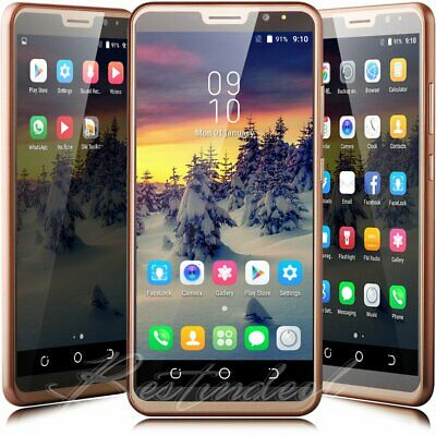 """Gold 6.0"""" Quad Core Dual Sim Unlocked AT&T T-Mobile Android 7.0 Smart Cell Phone"""