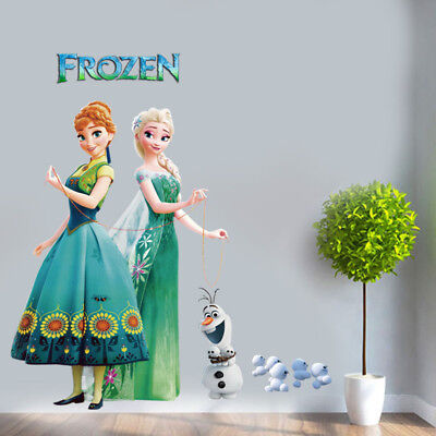 Disney Elsa Anna Frozen Princess Olaf Wall Stickers  Kids Room Removable Decor