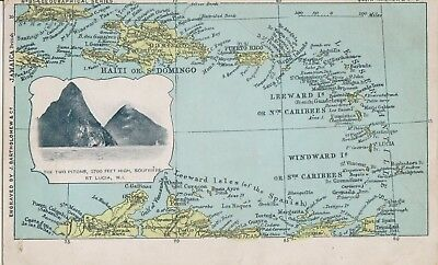 Unused St. Lucia  John Walker map PPC showing Pitons, Soufriere