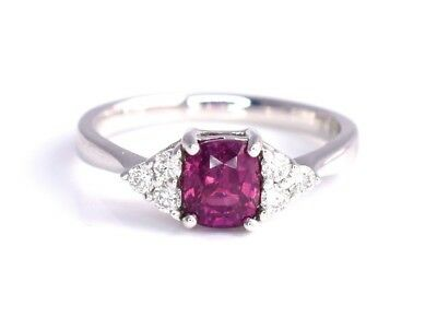 Ruby Diamond Ring No Heat GIA Certified Red Oval 1.52 ct 14k White Gold NEW Sz 7