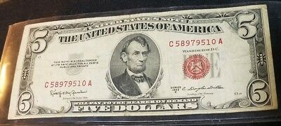 United States Note $5 Red Seal 1953C