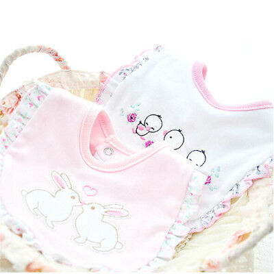 Baby Girl Bibs Animal Princess Lace Cotton Bandana Bibs Feeding Saliva Towel US