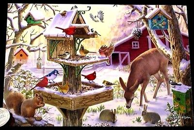 Cardinals Birds Birdhouse Squirrel Rabbits Deer Barn Christmas Greeting Card NEW