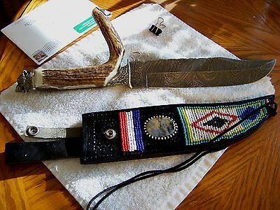 Custom Collectors Bowie Damascus Knife Hand Crafted Elk Antler/Beaded Sheath