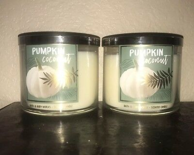 2 Bath & Body Works PUMPKIN COCONUT Large 3-Wick Candles Fresh Scent -Set of 2-