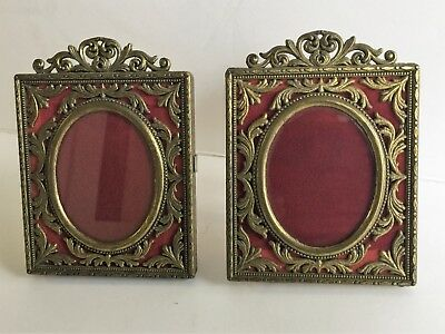 """Vintage Italian Metal Picture Frames/ 2pc Ornate metal frame oval pics -5.5""""x4"""""""