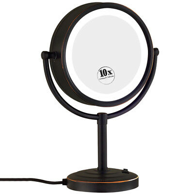 GURUN Vanity Lighted 10X Magnifying Dressing Table Makeup Mirrors Oil Bronze