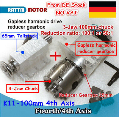 Ratio 100:1 K11-100mm 4th Axis Rotary Fourth Gapless 3 Jaw Chuck &65mm Tailstock