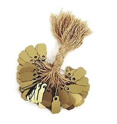 """100 pcs Gold Plastic Tags, Jewelry Price Tags with String (3/8"""" x 7/8"""")"""