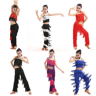 Kids Adults Tassel Latin Dancewear Costume Girl Salsa Ballroom Dance Dress Lit01