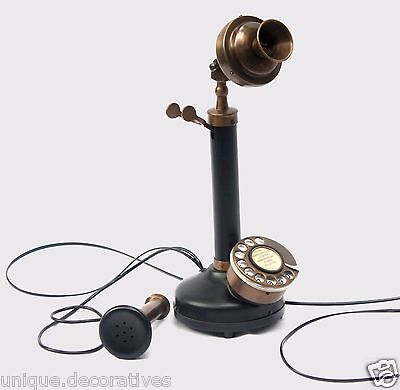 Antique black Pipe Brass Candlestick Phone Desk Telephone Rotary Dial Vintage