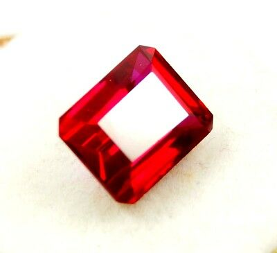 GGL Certified Natural 13.80 Ct Emerald Cut Blood Red Ruby Manikya Mozambique Gem