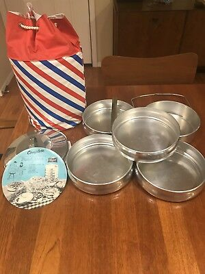 Vintage Regal Ware Aluminum 5 Tier Stackable & Lockable Food Tote / Carrier