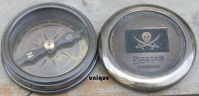 Vintage Brass Nautical Poem Compass Marine Pirates Engraved Compass