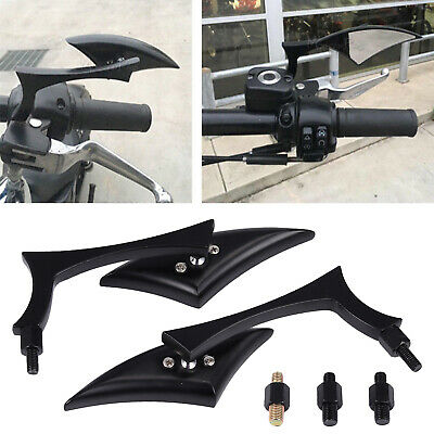 1 Pair Black Blade Aluminum Side Mirrors For Harley Motorcycle Cruiser Chopper