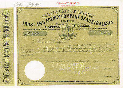 Trust and Ageny Co. of Australasia, 1912, SPECIMEN, VF