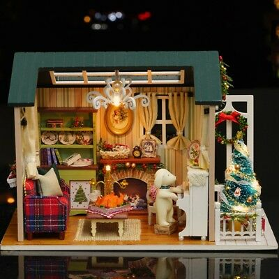 DIY Handcraft Cottage Miniature Wooden Doll House LED Light Kit Kids Toy Gifts