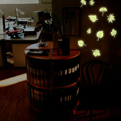 Creative Luminous Leaves Children's Room Wall Stickers Glow In Dark Stickers CB