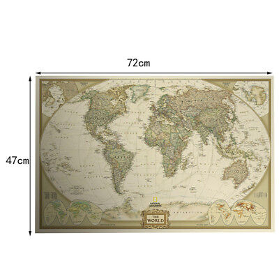 New Wood Paper Retro World Map Antique Paper Poster Wall Chart Home Decoration