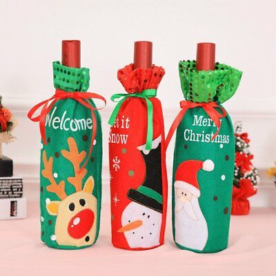 Wine Bottle Cover Bag Candy Gift Bag Party Christmas Ornaments Decoration G6