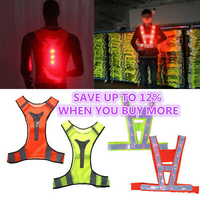 Safety Reflective Vest Belt Stripe Straps LED Light Night Running Jogging Biking