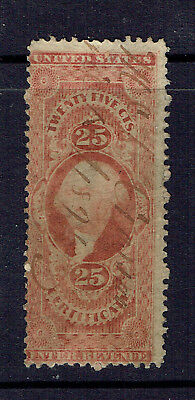 U.S 1862-71 R44c Red 25c Certificate Registration Stamp - Hand Stamped - Used