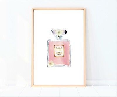 coco Chanel pink perfume bottle painting/drawing print poster