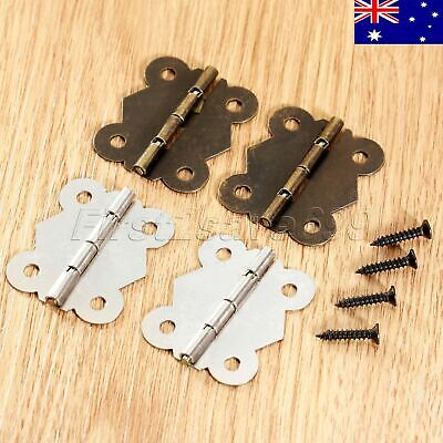 1/10Pcs Classic Butterfly Hinges Cabinet Drawer Door Wood Box Hinge w/ Screws AU