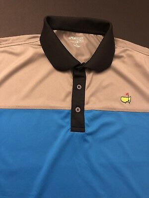 Masters Tech Golf Tournament Polo Shirt Mens Size Large New Blue/Gray