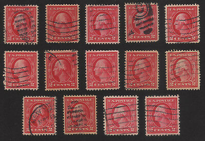 Lot of 14 US 2c Washingtons, All VF & XF, Sc 406 & 499 stamps, Nice collection