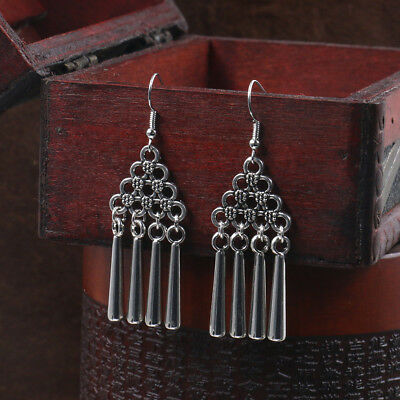 Vintage Bohemia Gypsy Tibet Hollow  Women Silver Earring Indian Tribal Jewellery