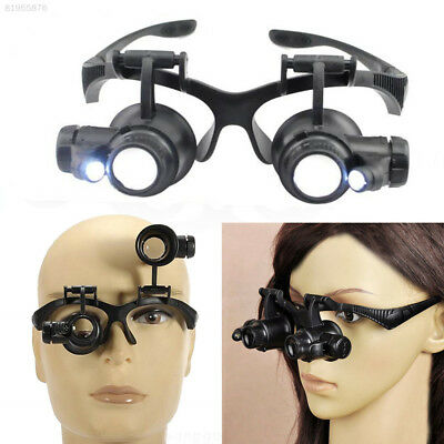 3D74 10X 15X 20X 25X LED Jeweler Watch Repair Magnifier Glasses Loupe Lens