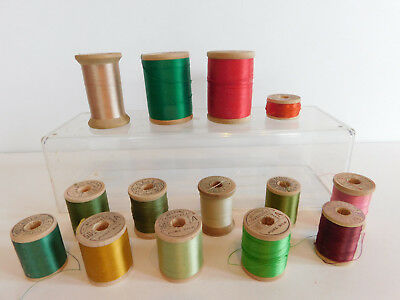 14 Vtg   Spools  Pure Silk Corticelli Sewing Thread Embroidery some Full Spools