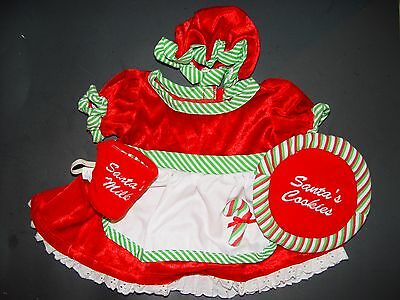 Build a Bear Clothes Clothing Christmas Mrs. Santa Claue Outfit w/Cookies & Milk