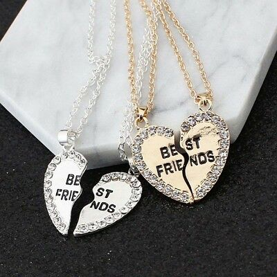 Attractive Heart Silver Gold Rhinestone 2 Pendants Necklace Christmas Gift