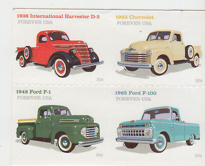 UNITED STATES 2016 Pick Up Trucks Block of 4 FROM BOOKLET  MNH ..