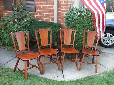 Set of 4 Heywood Wakefield Maple Sidechairs / Dinette Chairs  (C25689A)