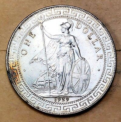 1929 Great Britain Silver Trade Dollar  AU/UNC