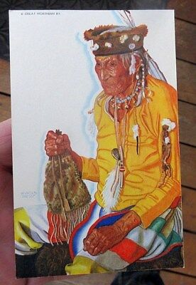 ca 1940s GN RAILROAD WINOLD REISS NATIVE AMERICAN INDIAN MEDICINE MAN POSTCARD
