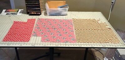 Vintage feedsack pieces, yellow pink red floral fabric