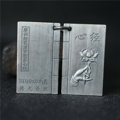 36mm Old China Ancient Pure Silver Carved Buddhist Scripture Pendant Amulet