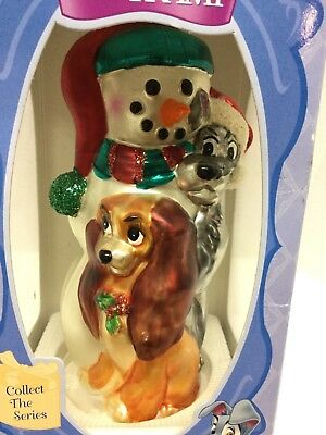 Disney Lady and The Tramp European Glass Christmas Ornament MIB Beautiful