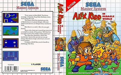 Sega Master System - Universal replacement case Cover Alex Kid all available