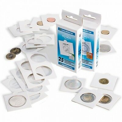 50 Lighthouse Matrix Self Adhesive 2x2 Coin Flips Holders White 22.5mm Nickels