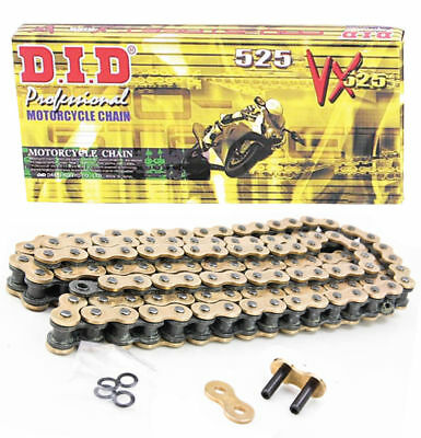Did Heavy Duty X-Ring Motorcycle Drive Gold Chain 525 Vx 124 Links  D.i.d.