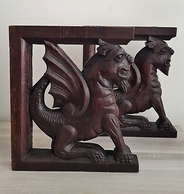 Pair French Antique Griffins Oak Wood Statues Carved Salvage late mid 1800th