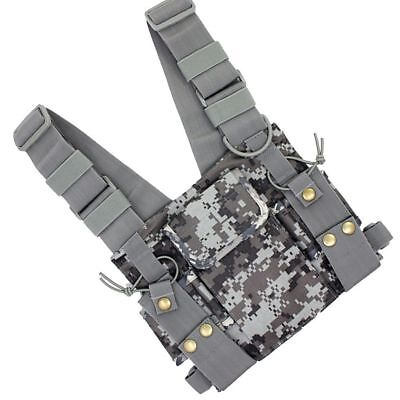 Camouflage Chest Harness Vest Front Pack Pouch Holster for Walkie Talkie