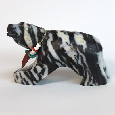 Dee Edaakie Zuni Fetish Bear Zebra Marble Bear Claw Necklace 2001